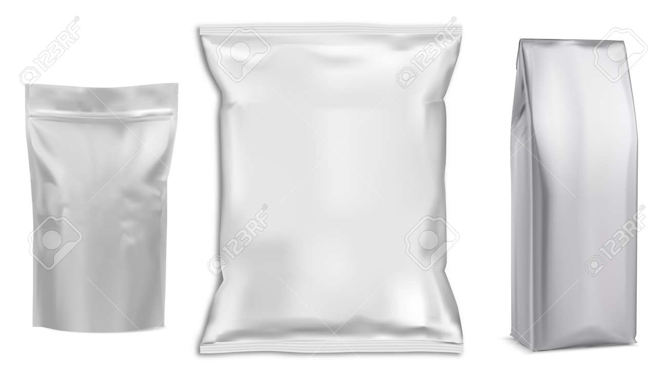 Food bag. White vector package. Food pouch foil pack. 3d sachet for snack product mockup design. Chaocolate Foil packet. Pillow bag for chips or cookie. Coffee bag, tea container - 165239801