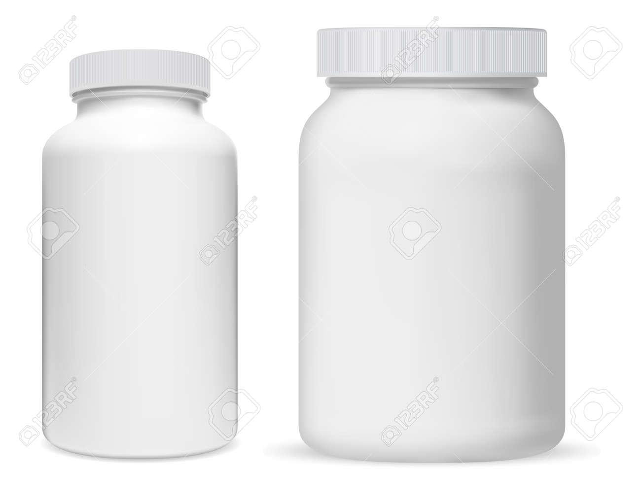 Pill bottle. White plastic supplement jar. Protein bottle mock up, vitamin capsule packaging, large powder jar blank. medical remedy cylinder jar, aspirin medication tablets, pharmaceutical drug can - 165403907