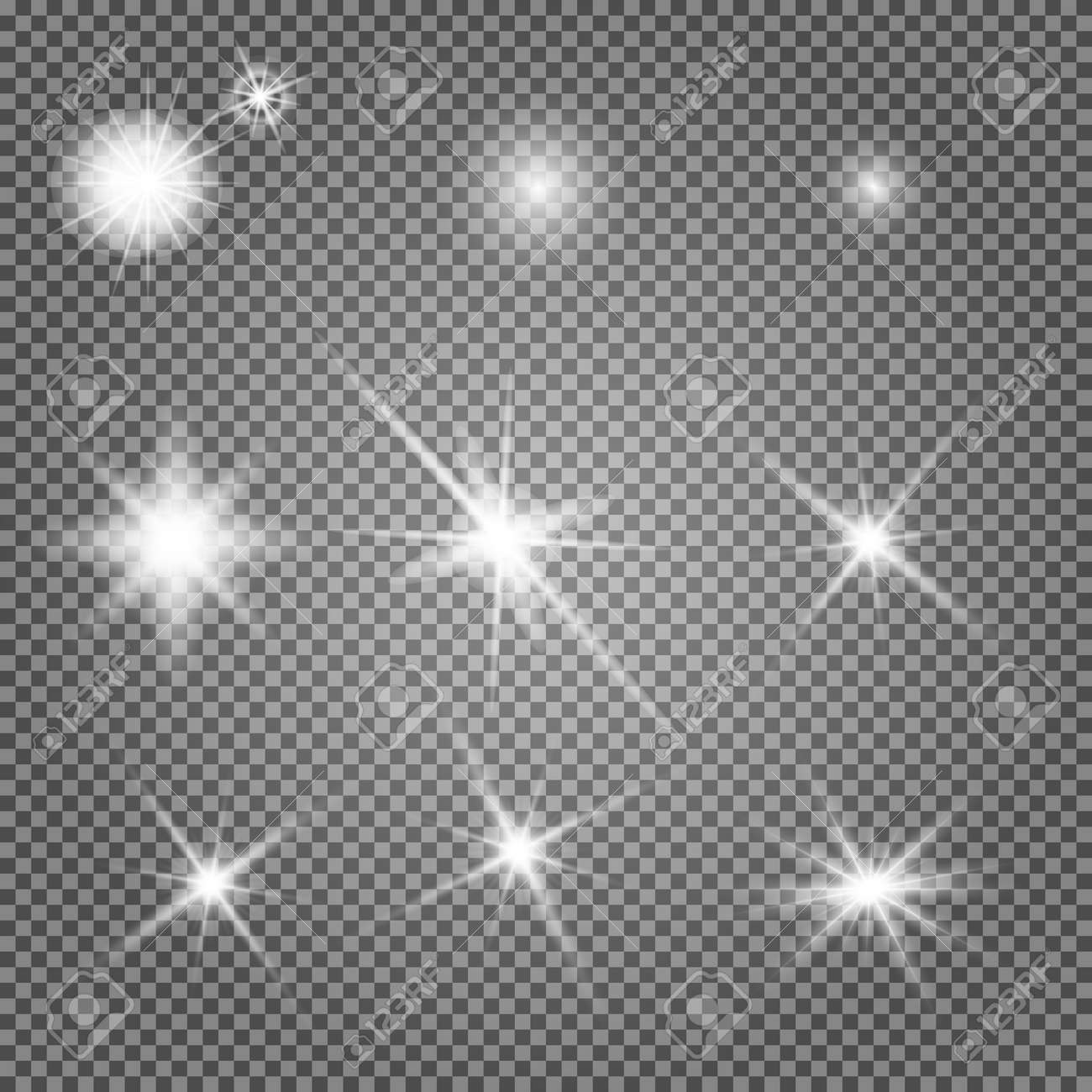 Star light. Starburst glow effect, vector sparkle. Flash shine, glowing bright on transparent background. Abstract glitter decoration, shiny sunlight ray, magic disco element. Special spark - 167222911
