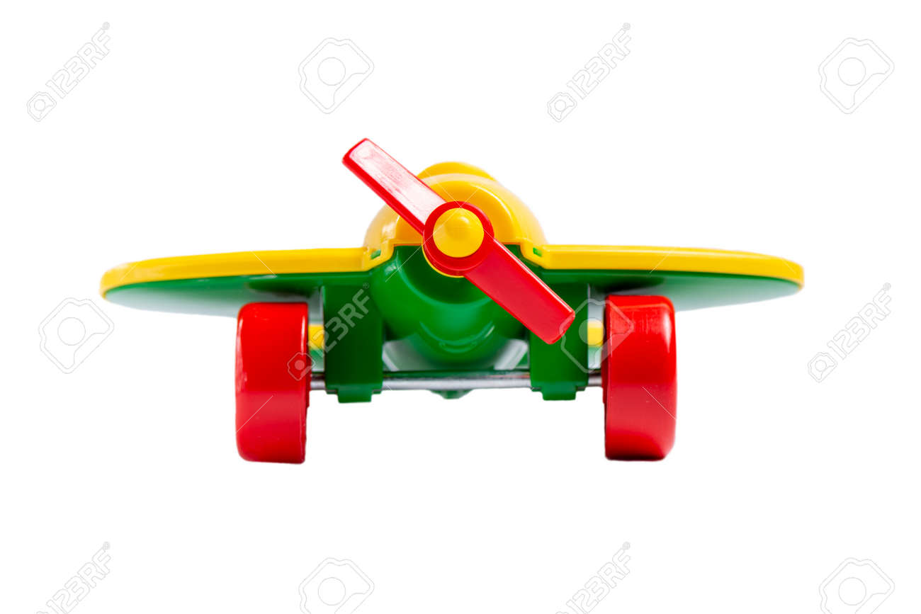 yellow toy airplane with propeller and landing gear isolate on a white background without shadow. concept of travel and flight. - 130773915