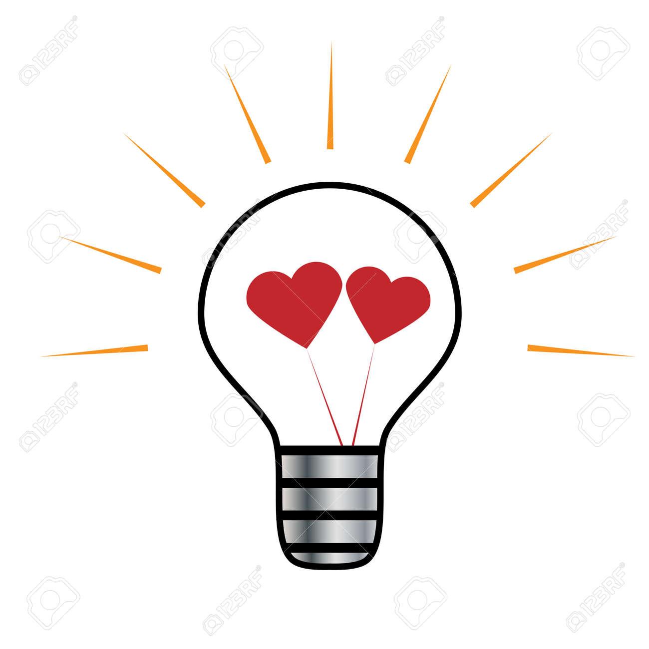 Vector Light Bulb Symbol Of Heart Symbol Of Innovation And