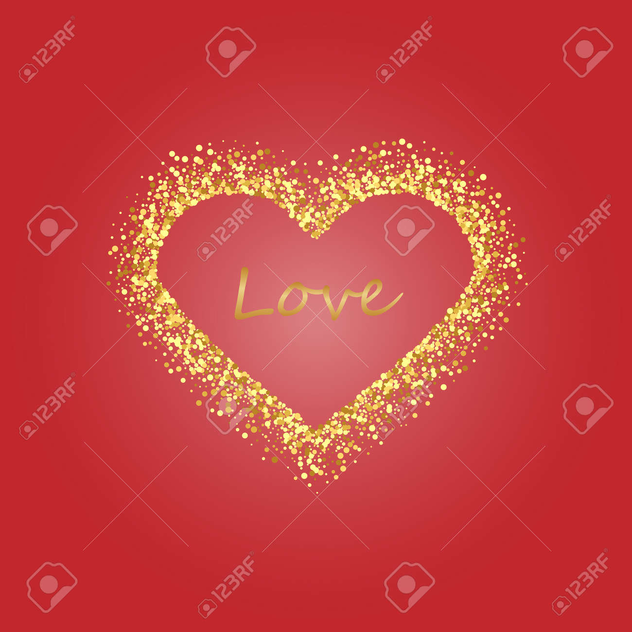 Gold Frame Of Scatter Confetti In The Shape Of Heart. Border ...