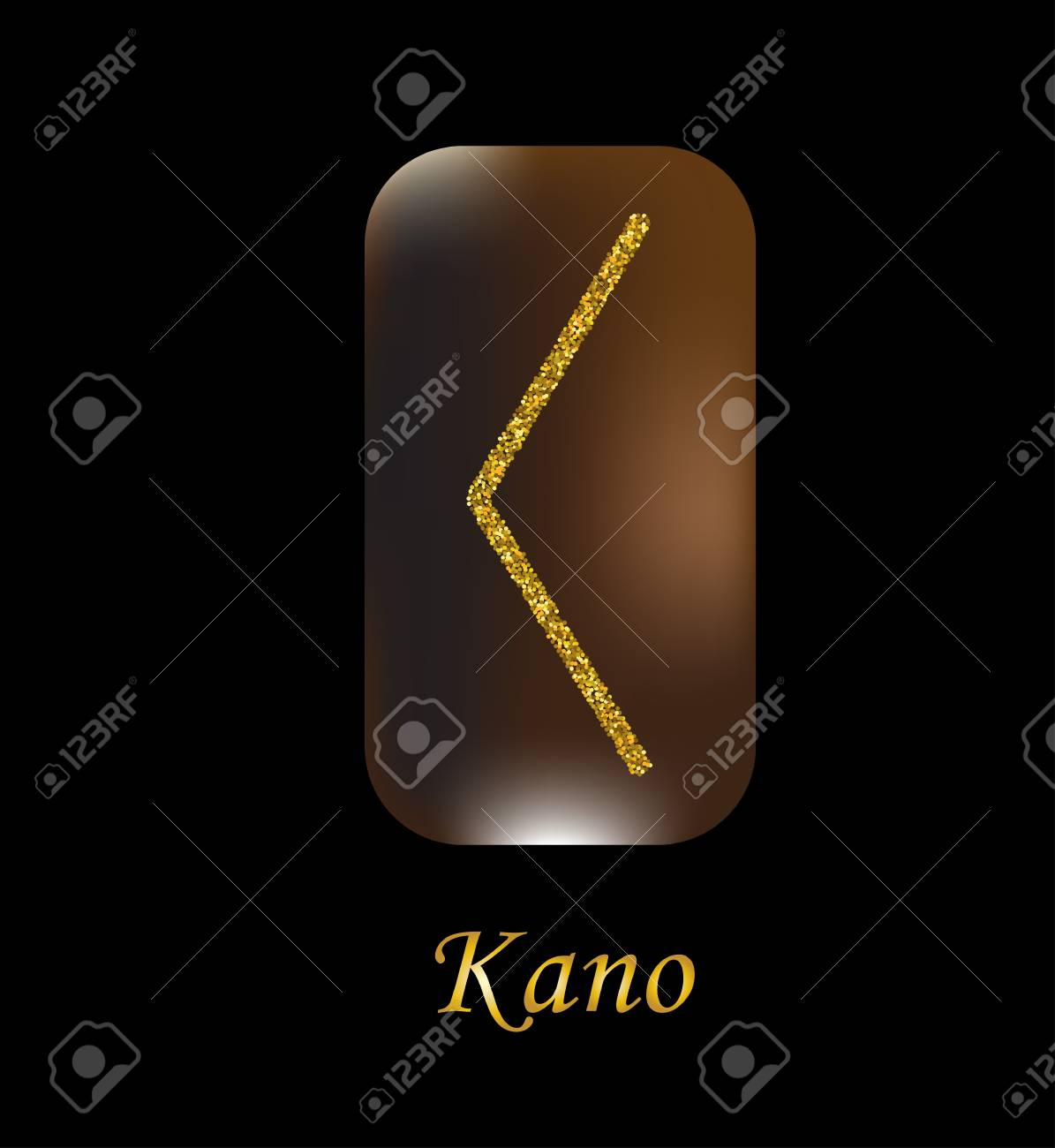 Vector illustration of kano characters, rune gold dust on a wooden