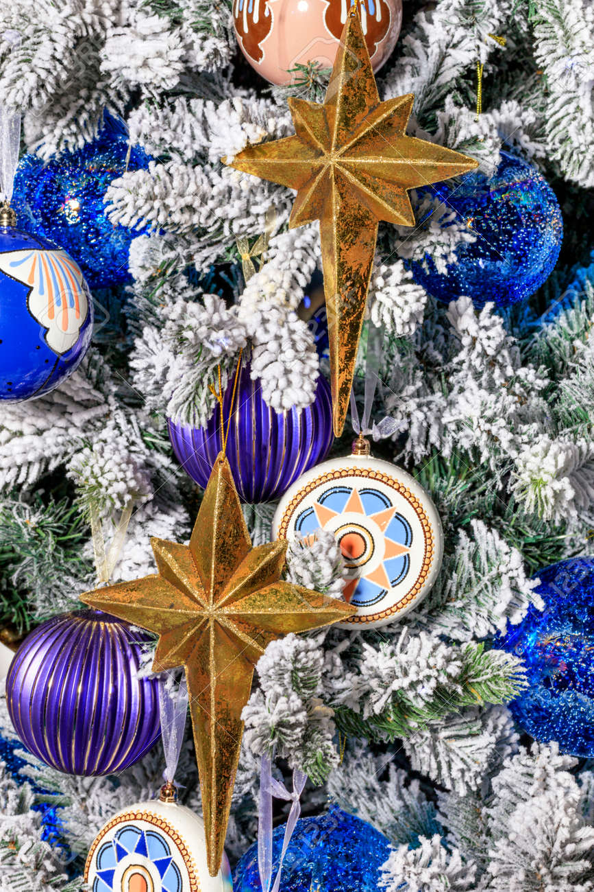 Collection Of Gold Stars Blue Christmas Balls Baubles For The Stock Photo Picture And Royalty Free Image Image 130555791