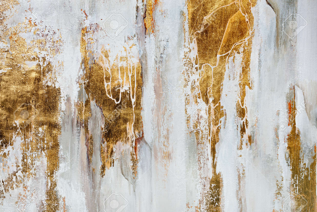 The texture of the oriental style of gray and gold canvas with an abstract pattern, close-up. - 165206088