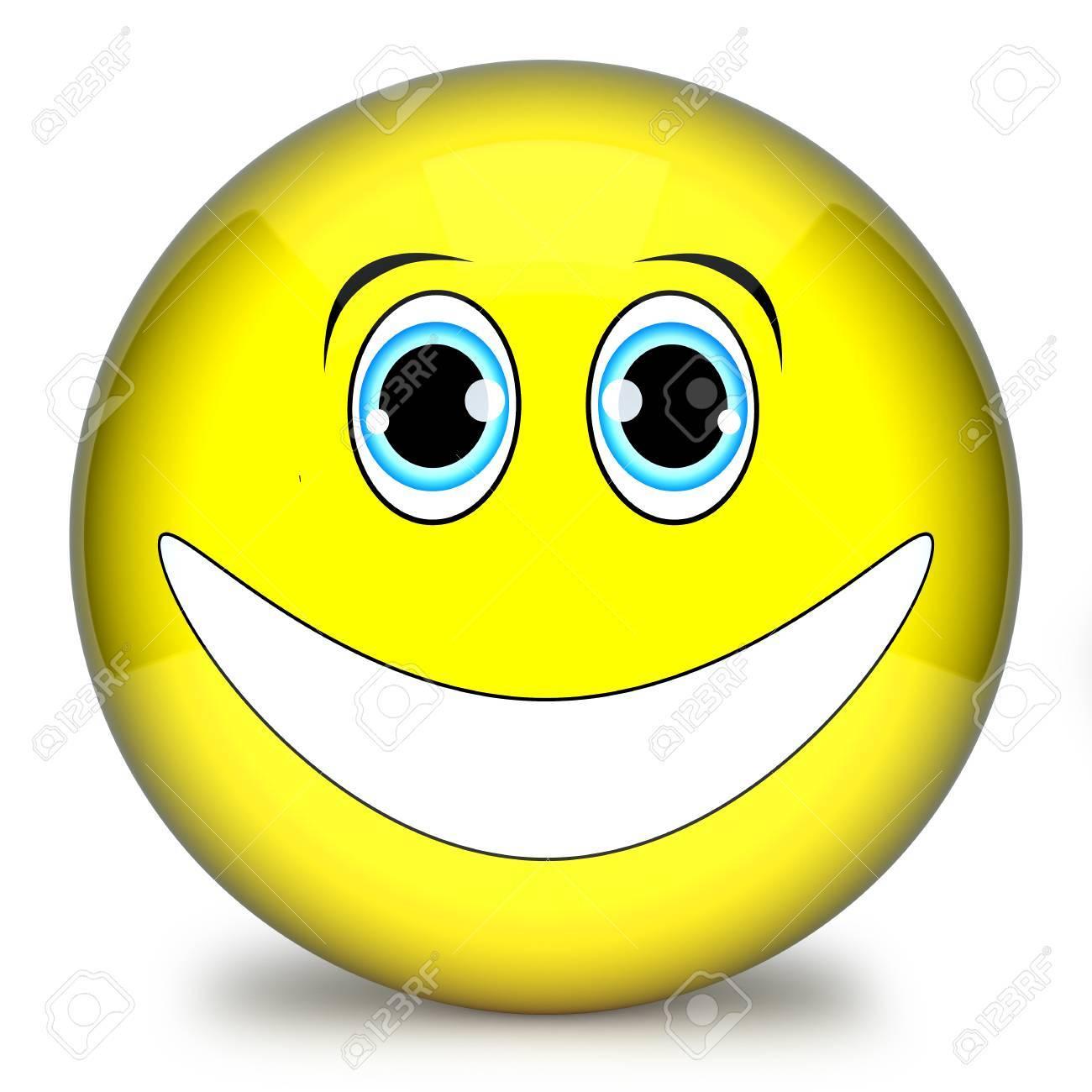 Emoticone Drole smiley jaune, visage émoticône drôle 3d isolé sur fond blanc banque
