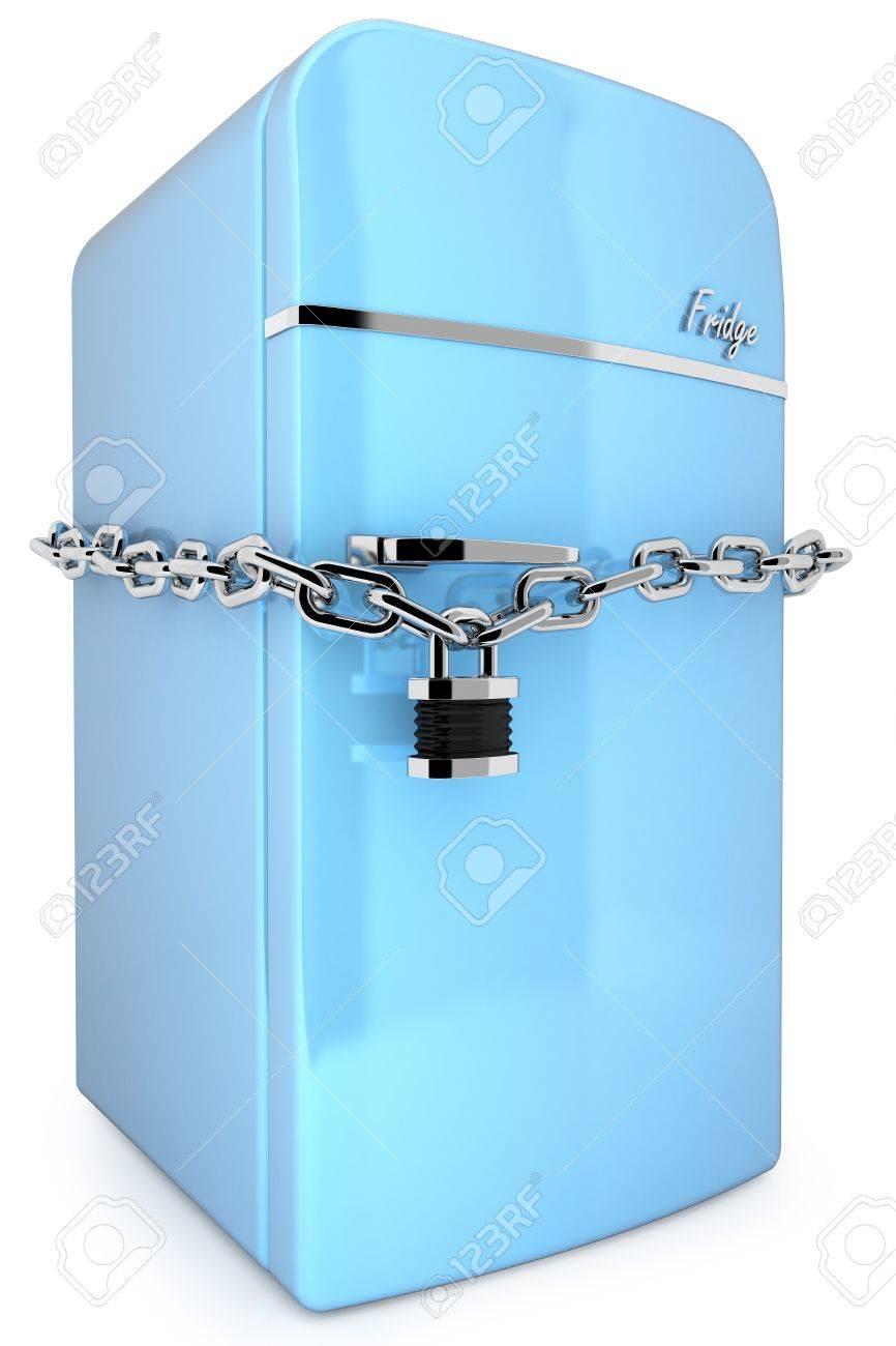 Blue Retro Fridge With Chain And Padlock Isolated On White Background Stock  Photo   65606428