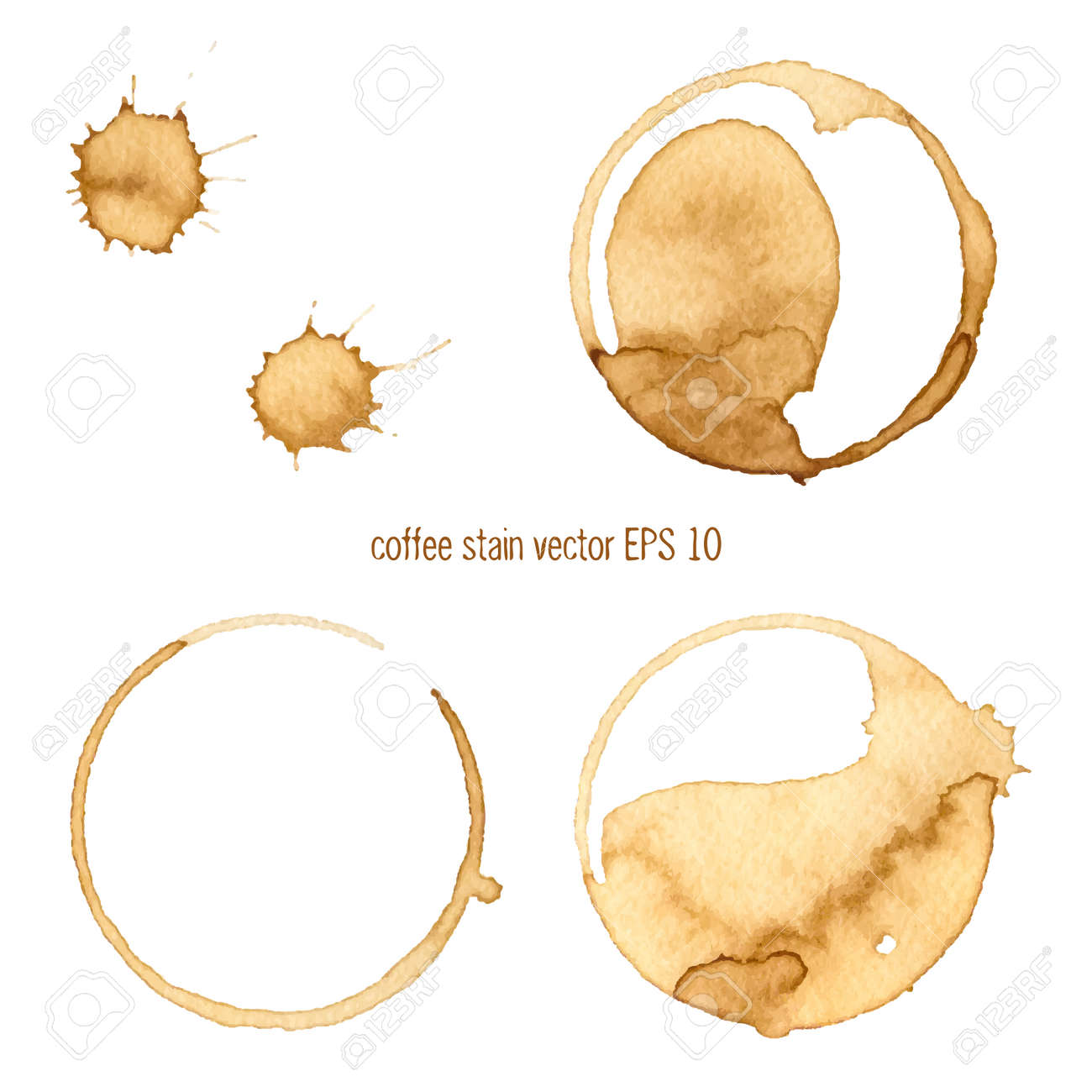 Coffee Stain, Isolated On White Background. Collection of circle various coffee stains isolated on white background - 35036043