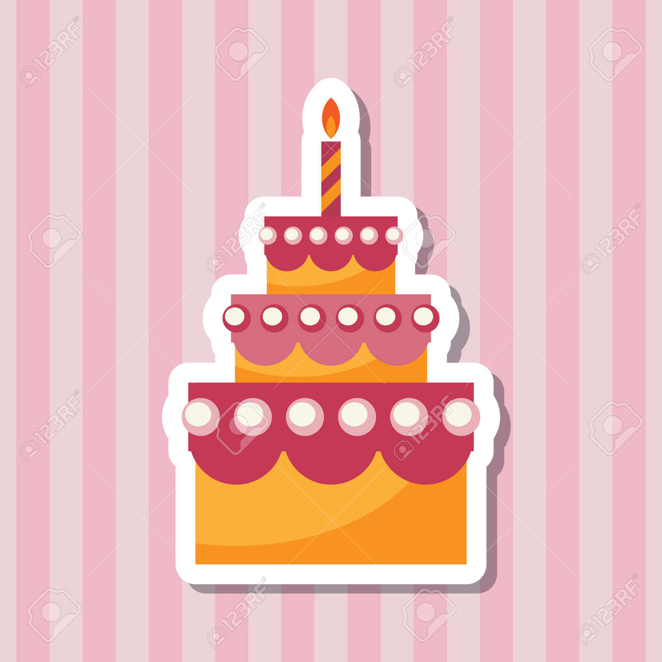 Sensational Birthday Cake With Candle Flat Icon Simple Vector Illustrations Funny Birthday Cards Online Eattedamsfinfo