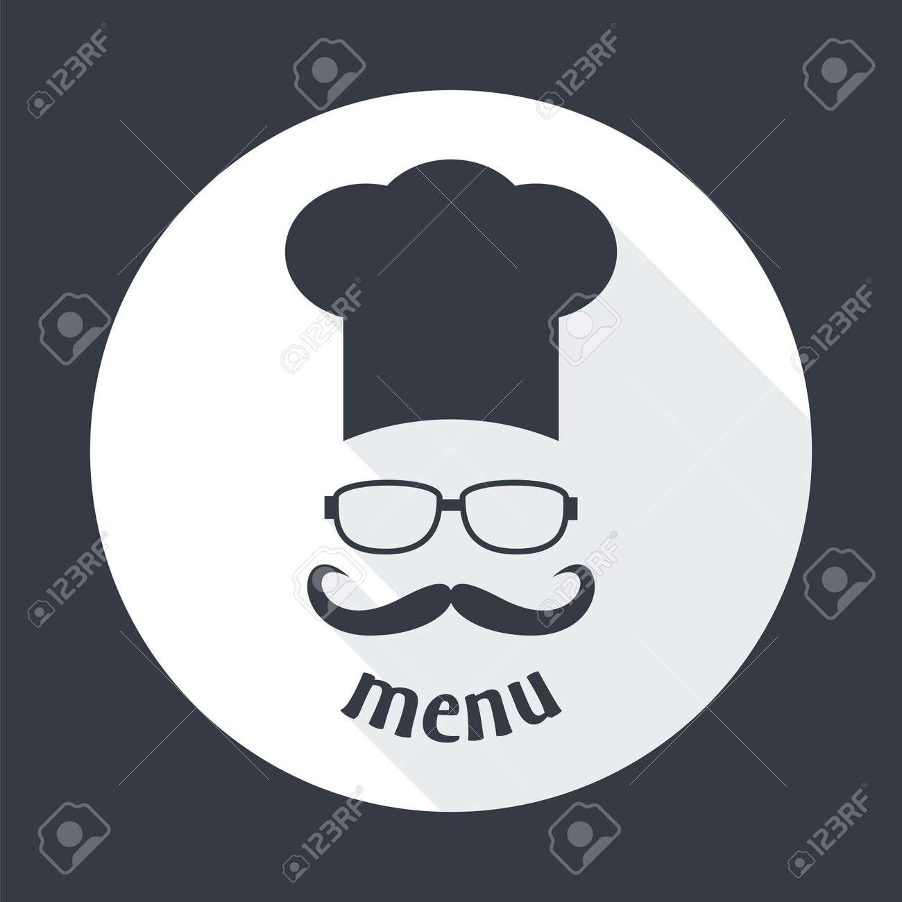 Banque d images - Chapeau de chef Hipster avec la moustache et des lunettes.  Foods Service icône ronde. Menu carte avec une longue ombre. 6e5551be7a3e