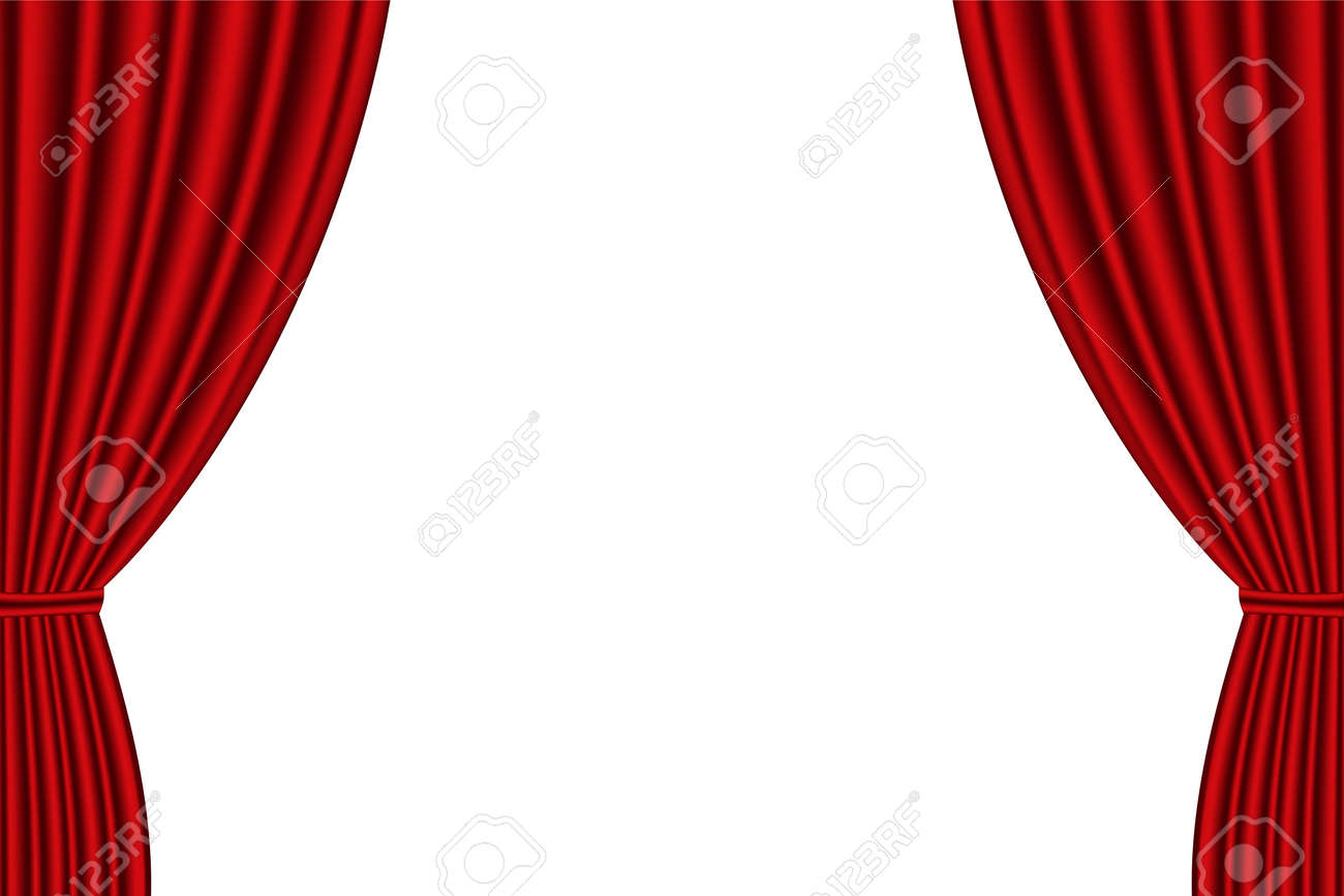Red curtain opened on white background. Vector illustration - 50311576