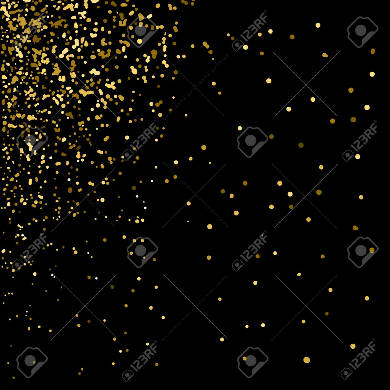 Gold glitter texture on black background. Golden explosion of confetti. Golden grainy abstract texture on black background. Holiday background. Design element. Vector illustration,eps 10. - 51580133