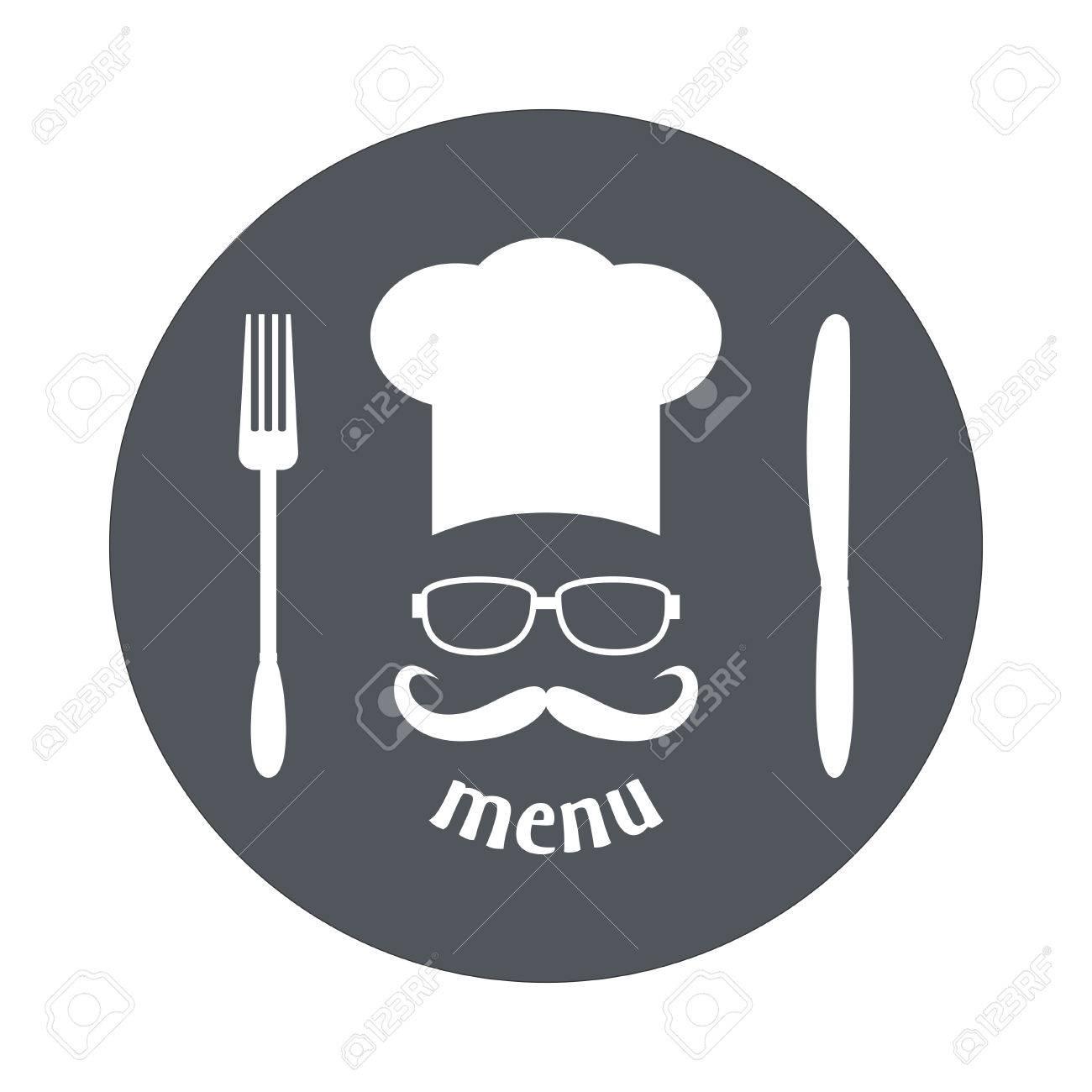 Banque d images - Chapeau de chef Hipster avec la moustache et des lunettes.  Foods Service icône ronde. Simple plat illustration vectorielle, EPS 10. e1f59bed53bb
