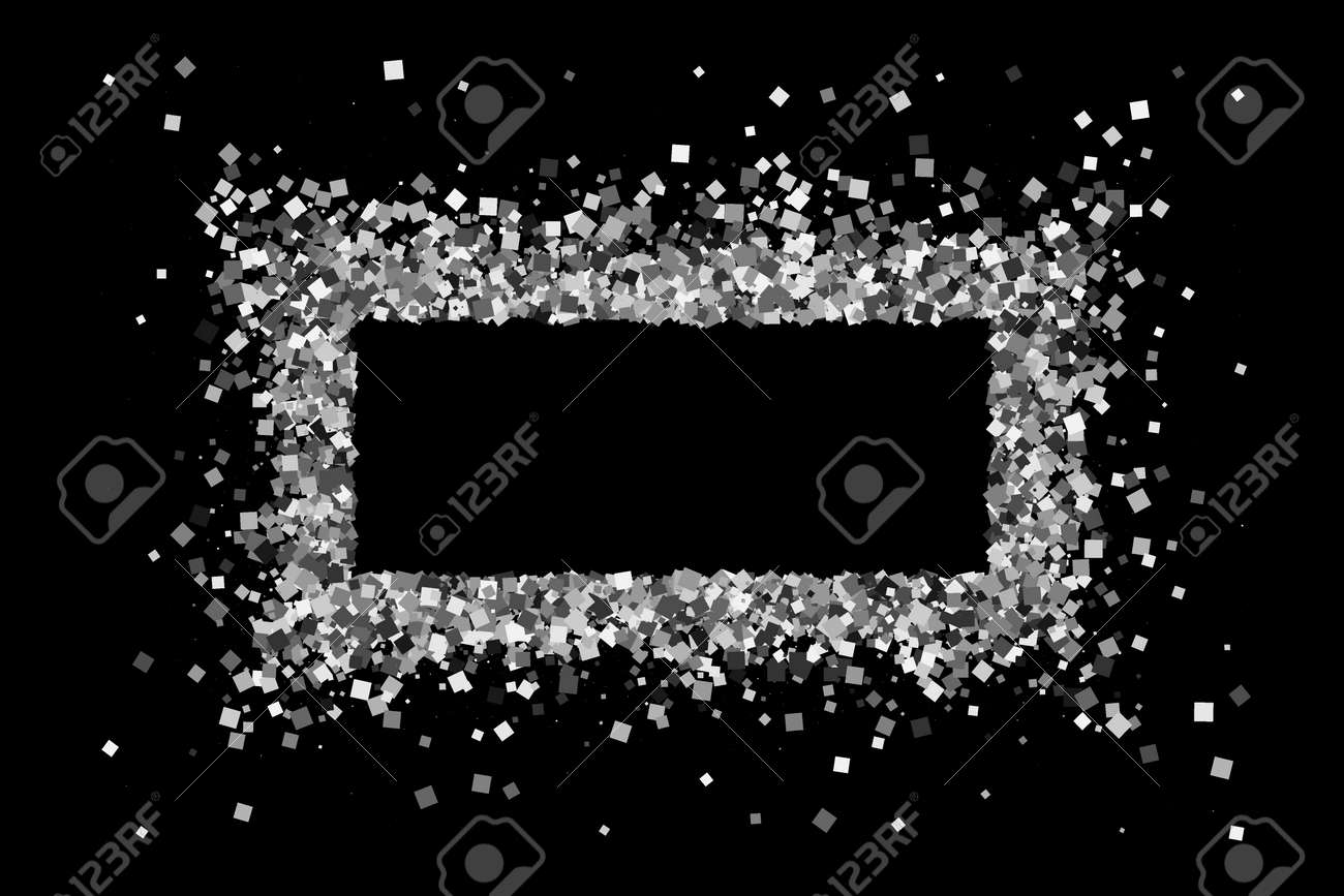 Silver Frame Isolated On Black Background Grey Explosion Of Confetti Flat Design Element