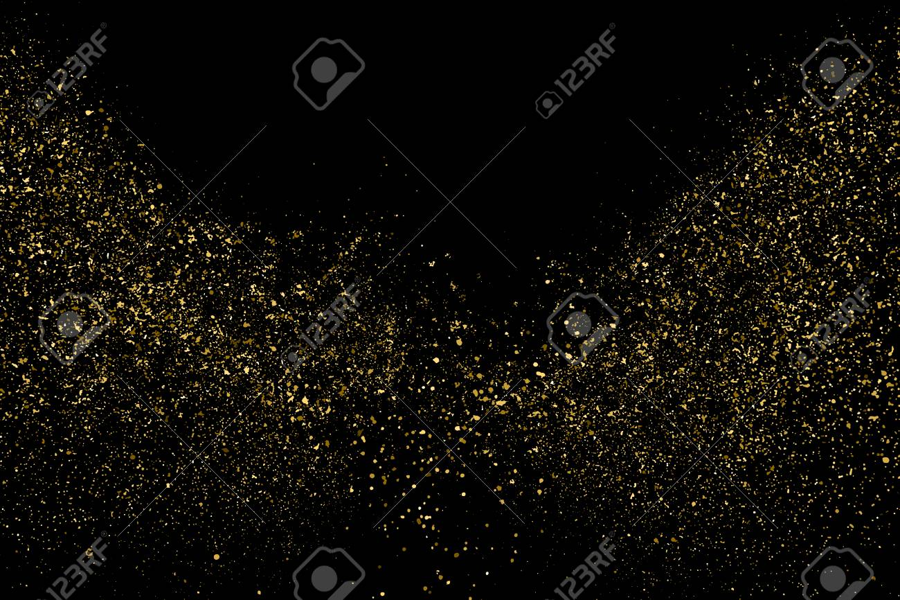 Gold Glitter Texture Isolated On Black. Amber Particles Color. Celebratory Background. Golden Explosion Of Confetti. Design Element. Digitally Generated Image. Vector Illustration, Eps 10. - 125147483