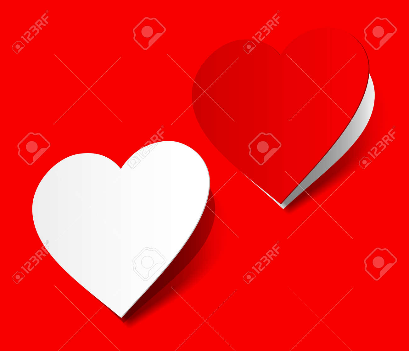 I love you heart sticker red scarlet realistic shadow symbol sign object paper emotion Stock Vector - 11175095