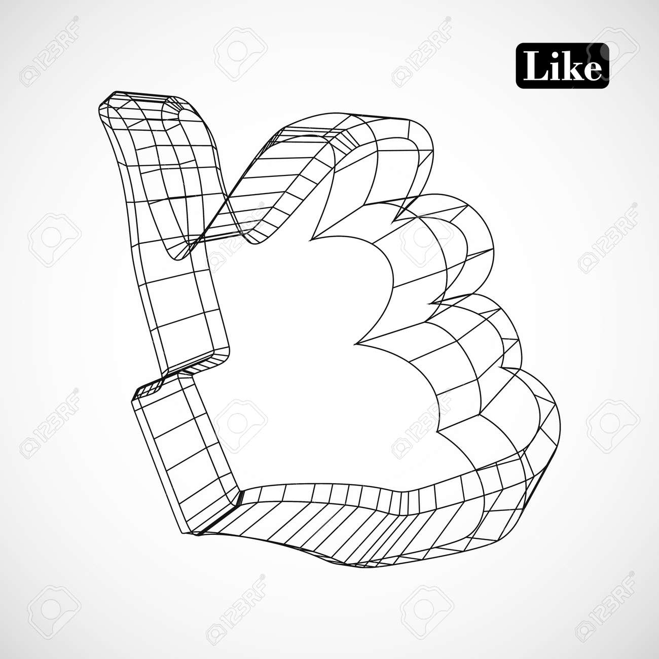 abstract symbol of LIKE in style 3D Stock Vector - 16576116