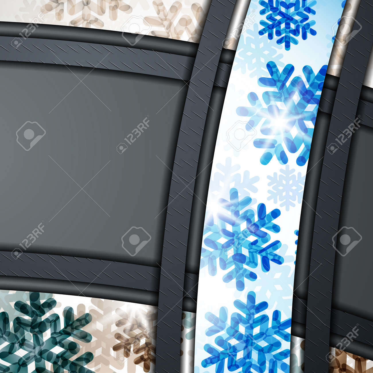 layered abstract background with snowflakes image Stock Vector - 17997896