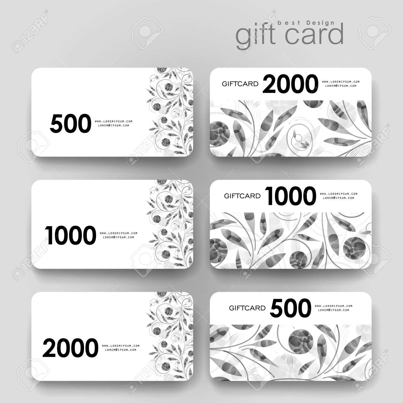 Gift Coupon, Discount Card Template With Floral Ornament Background ...