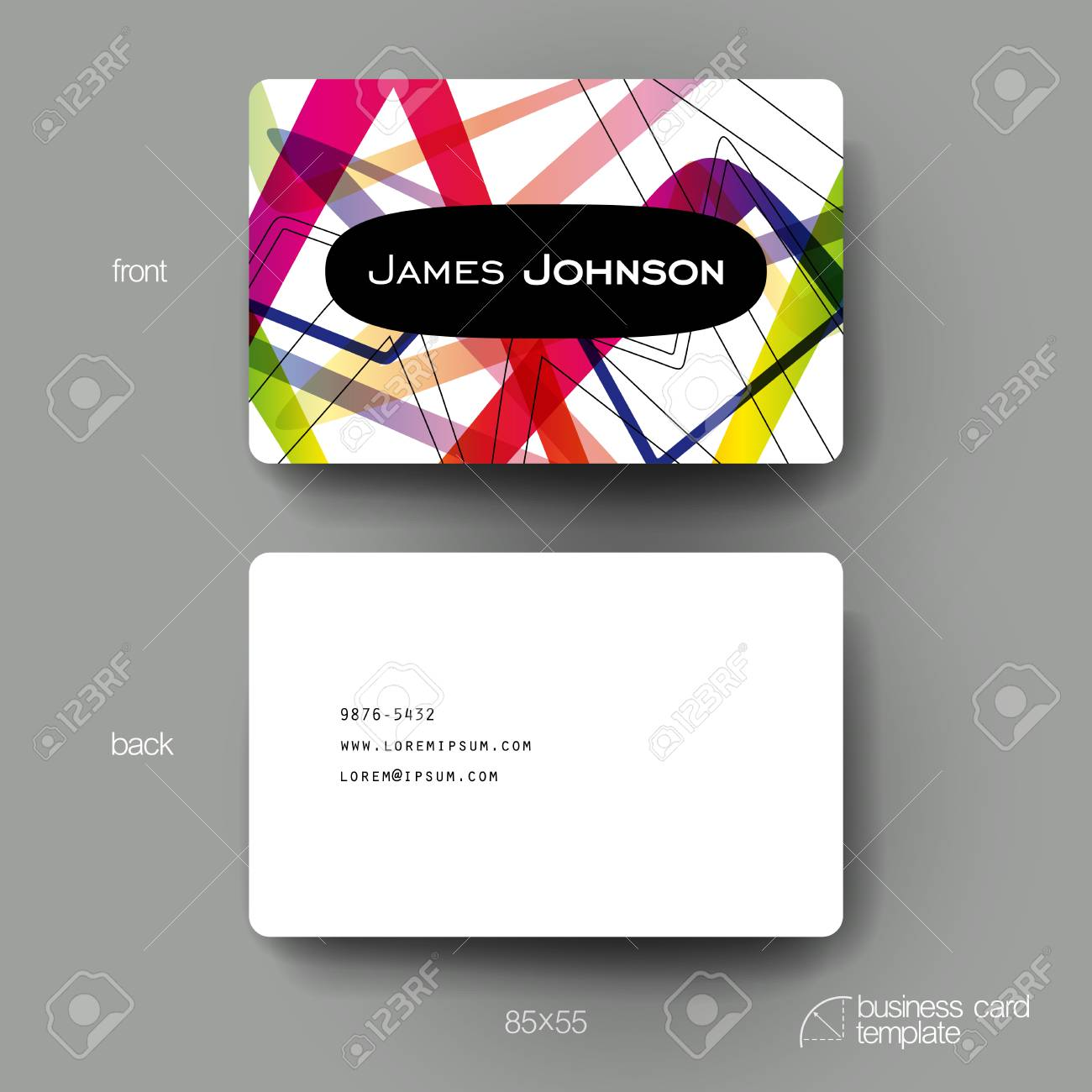 Business Card Vector Template With Abstract Background. Creative ...