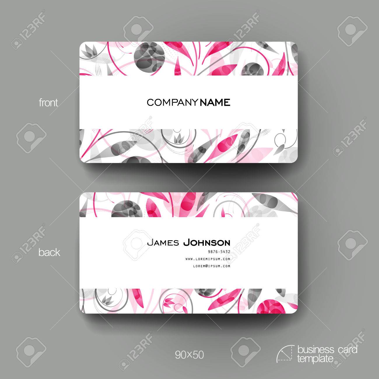 Business Card Vector Template With Floral Ornament Background ...