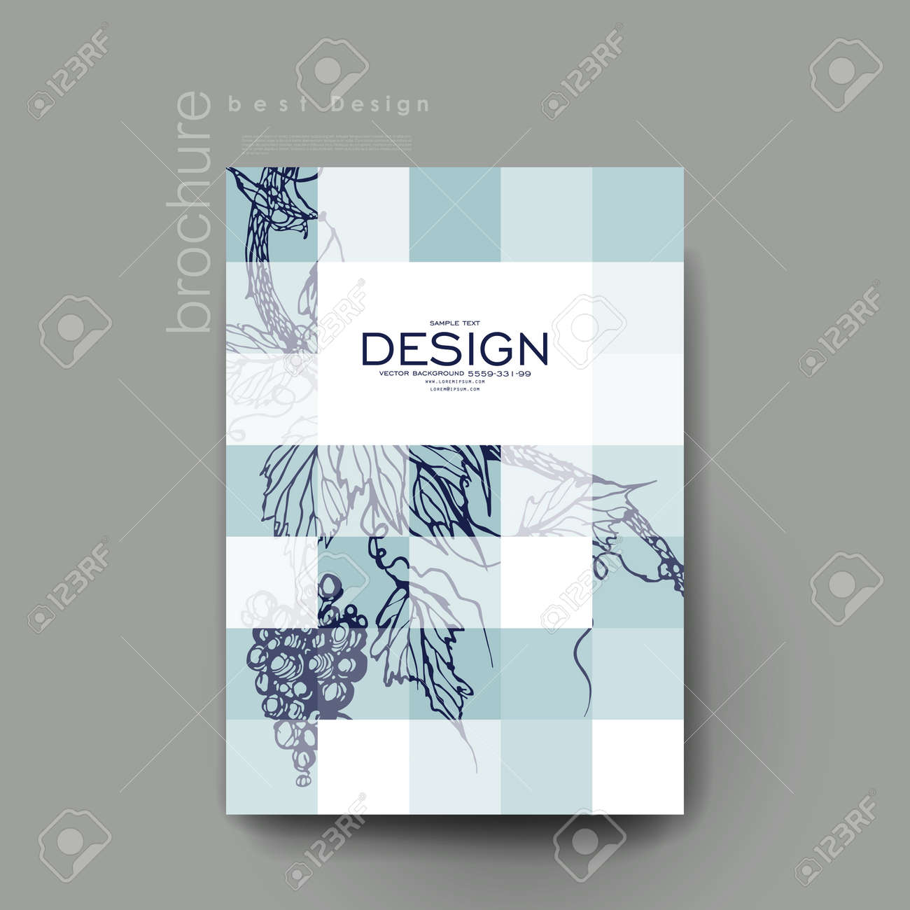 Grapes Ornament Vector Brochure Template. Flyer Layout. Creative ...