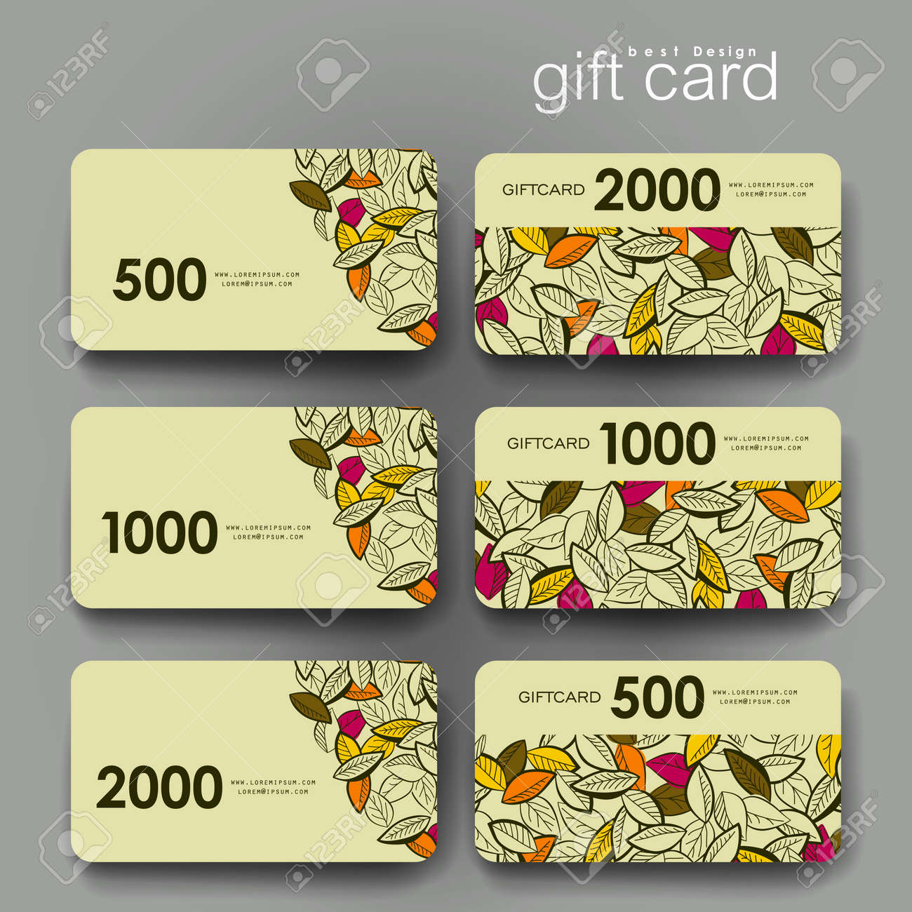 Design of discount card - Gift Coupon Discount Card Template With Autumn Leaf Ornament Background Creative Layout Design Stock
