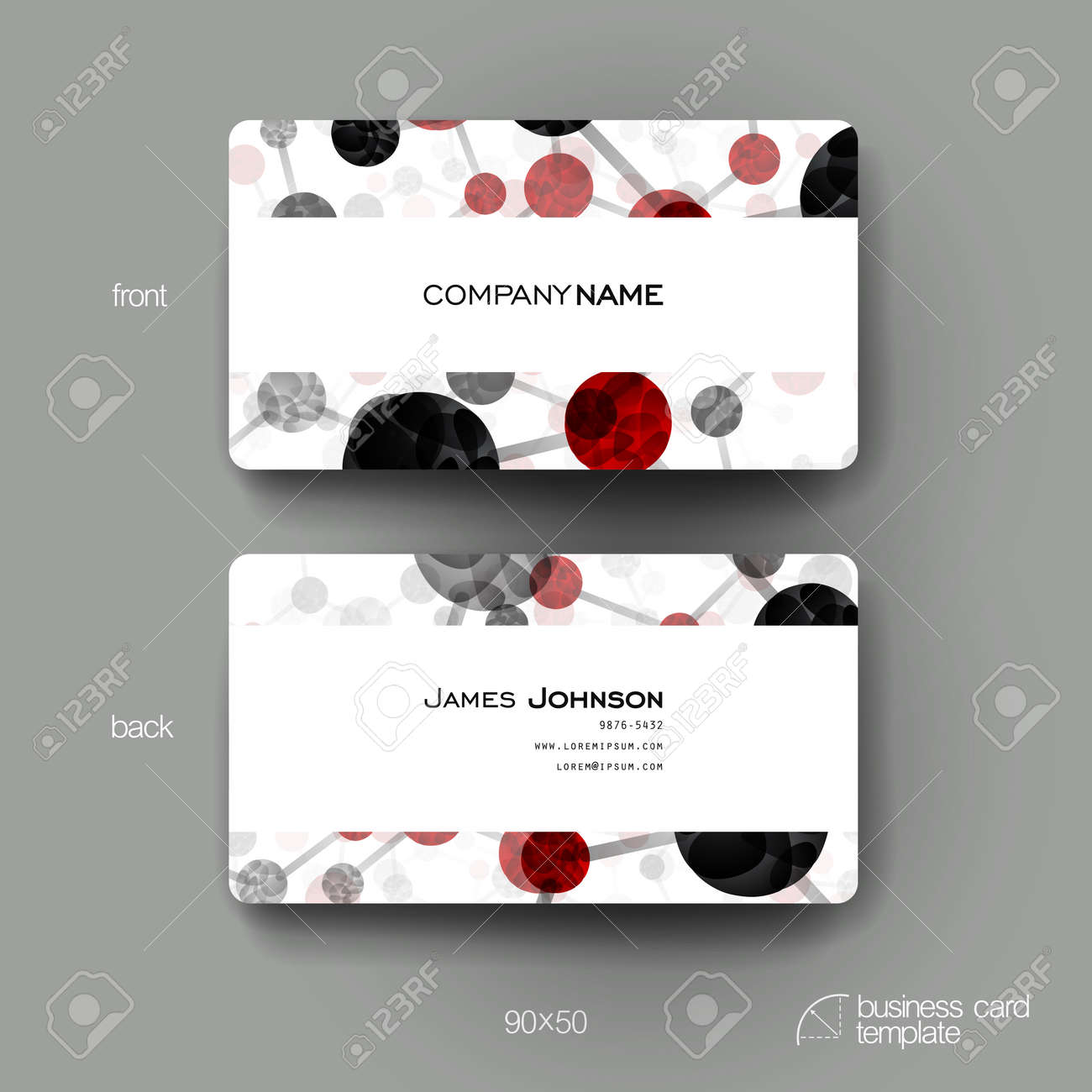 Business Card Vector Template With DNA Molecule Background. Creative ...