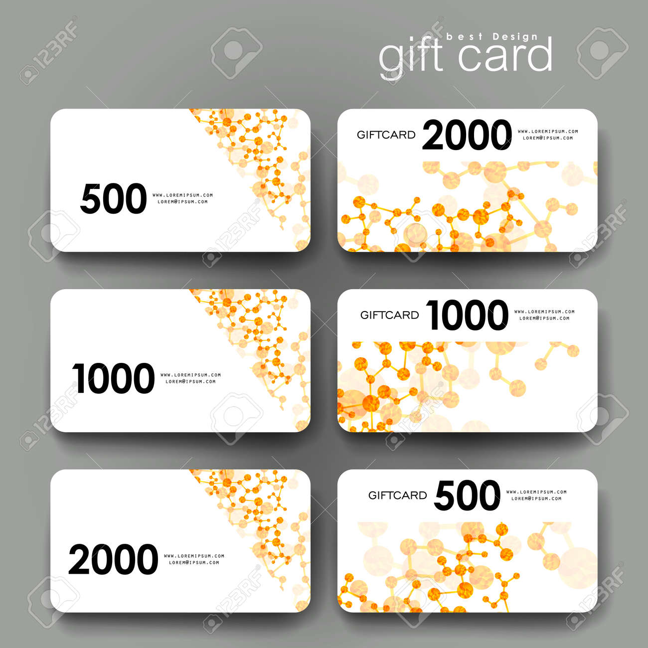 Gift Coupon, Discount Card Template With DNA Molecule Background ...