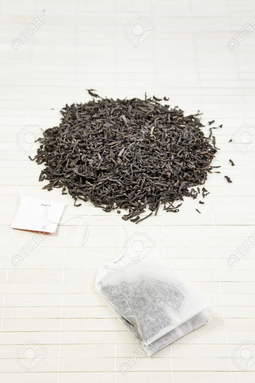 Japanese black tea, tea leaves detail japanese oriental relaxation beverage, oriental tradition Stock Photo - 18827732
