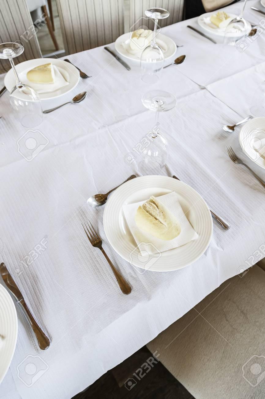Merveilleux Banque Du0027images   Table De Restaurant Aux Détails Du0027une Table De Salle à  Manger, Les Plats Et Couverts Pour La Nourriture