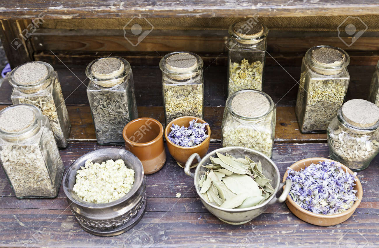 Ancient medicinal herbs, traditional medicine detail of ancient health and wellness Stock Photo - 21592874