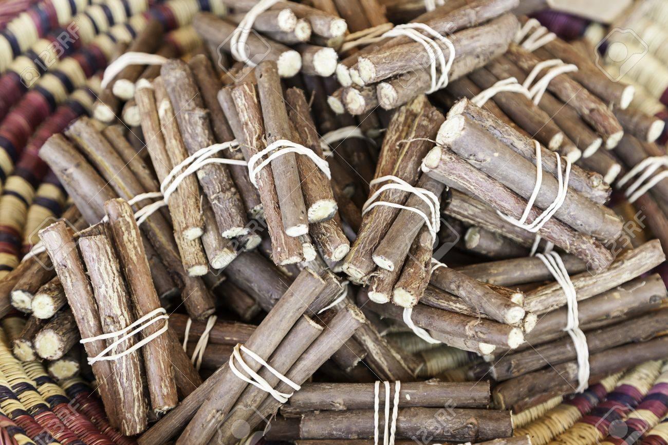Licorice sticks, detail of fresh licorice sticks, craft sale in a market Stock Photo - 21560396