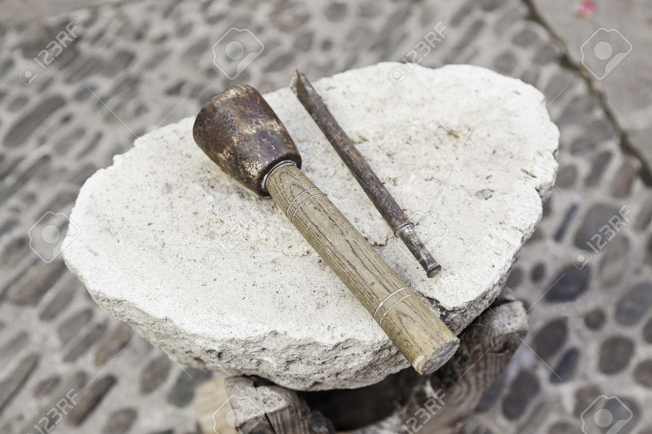 Chisel And Hammer Stone Working Detail Of Ancient Craft With