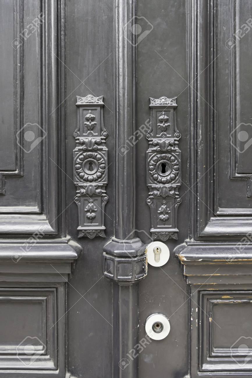 Alte Tür Dekoriert Detail Eines Typischen Lissabon Tür