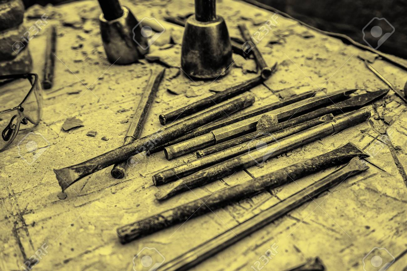 Old tools for stone carving handcrafted detail of a manual craft