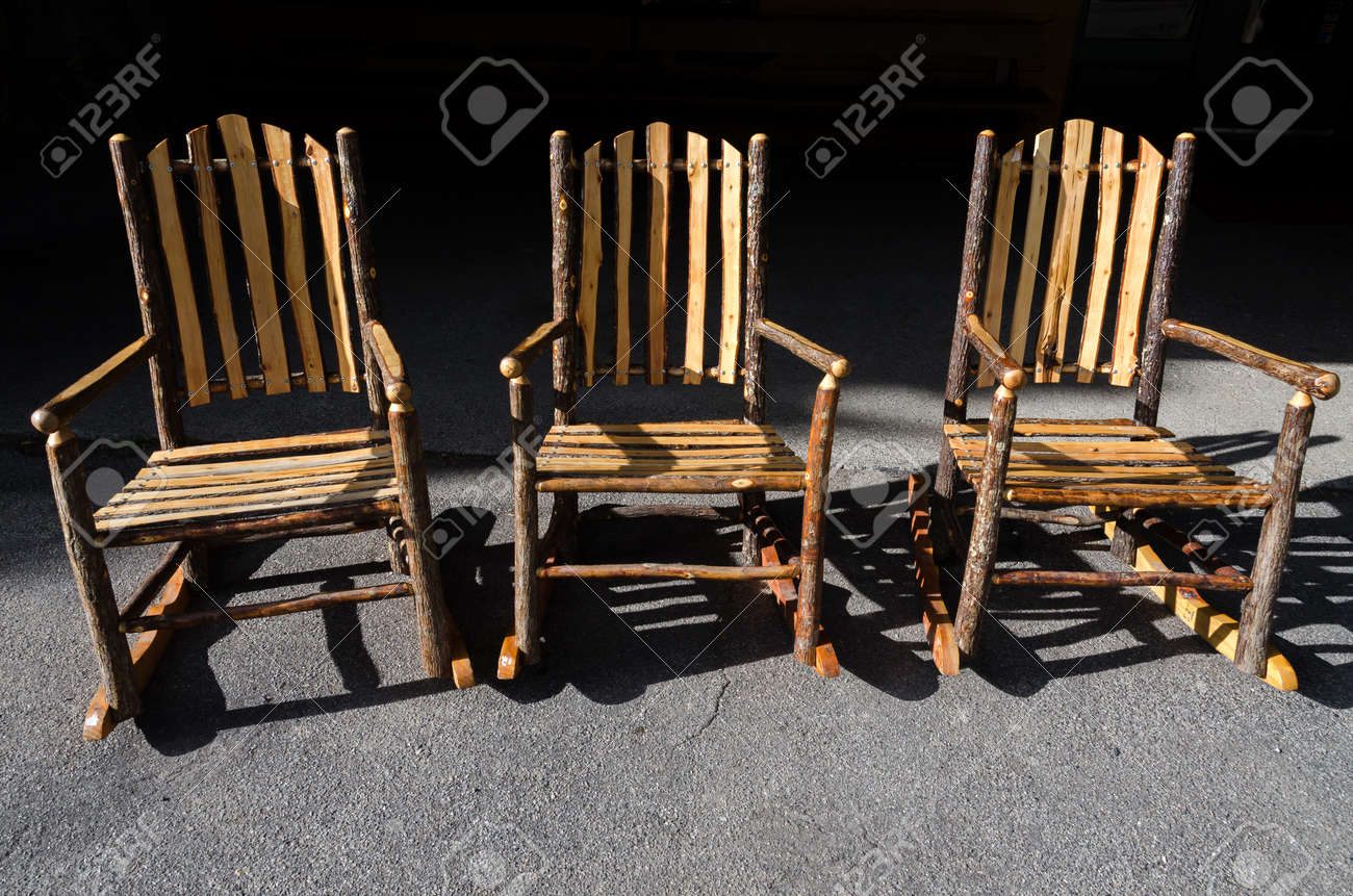 Stock Photo - three chairs built with logs and branches to Yellowstone in Wyoming & Three Chairs Built With Logs And Branches To Yellowstone In Wyoming ...