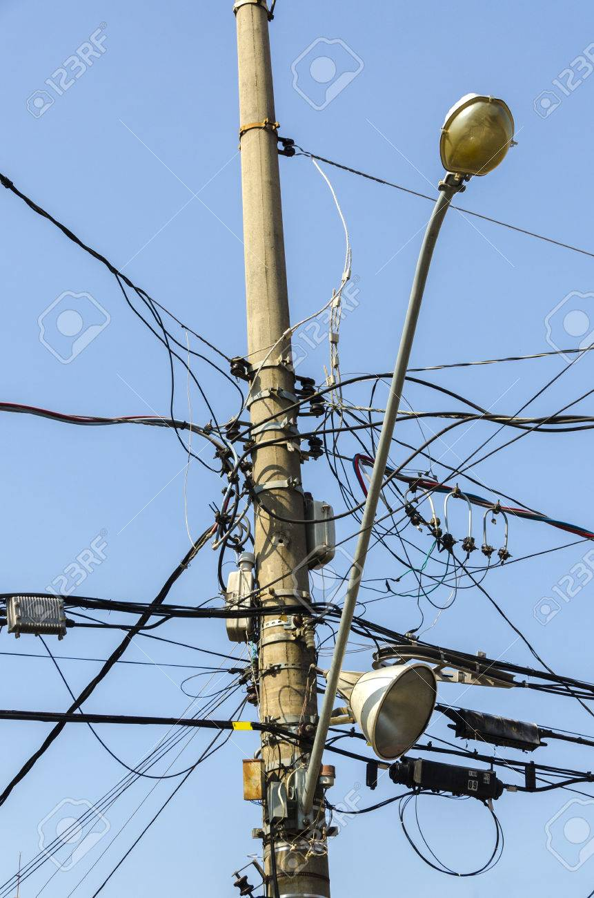 Tangle Of Electrical Wires On A Light Pole In Sao Paulo, Brazil ...