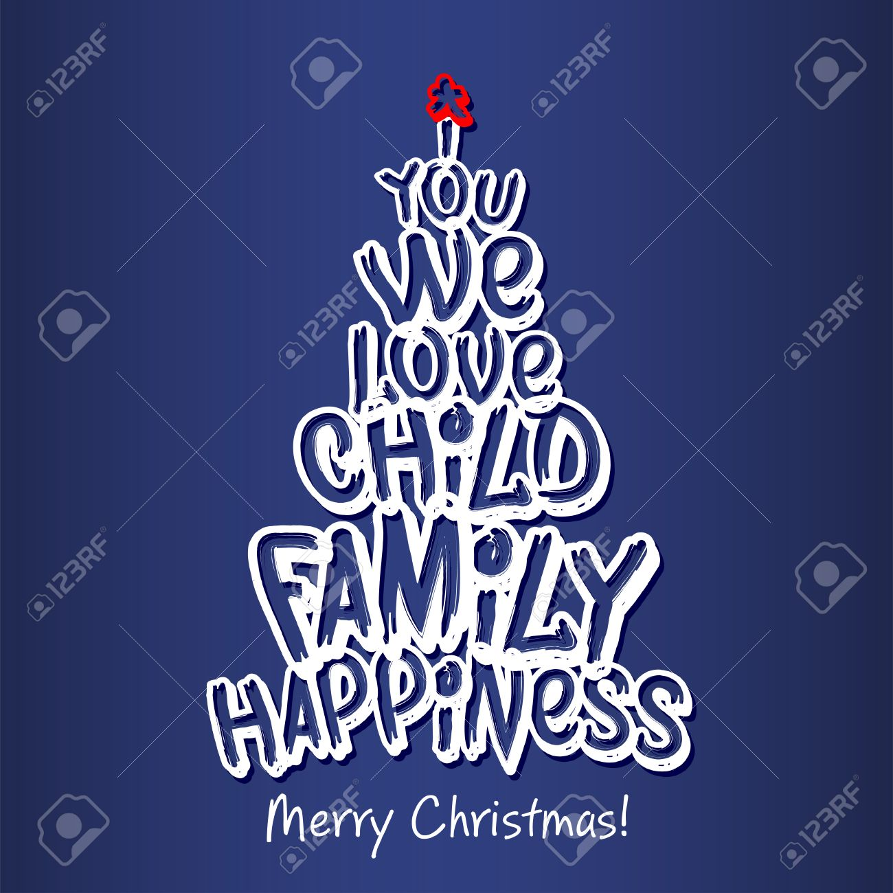 merry christmas family greeting card merry christmas and happy new year lettering vector illustration