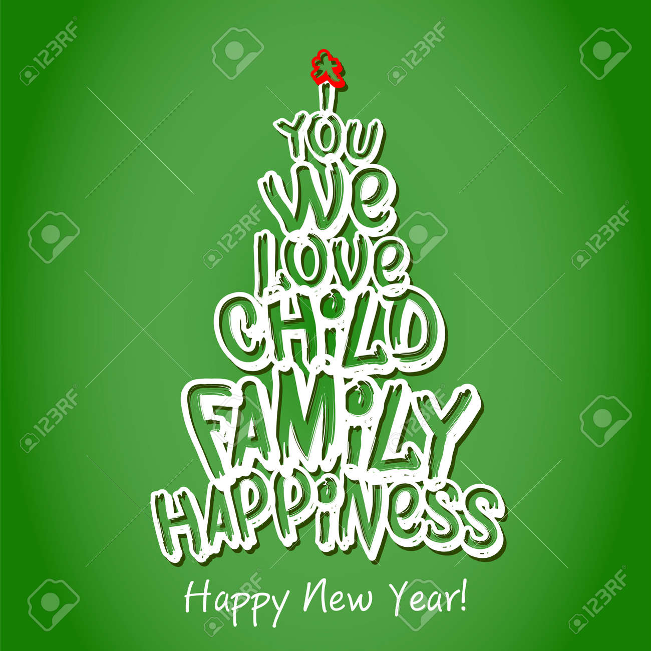 happy new year family greeting card merry christmas and happy new year lettering vector