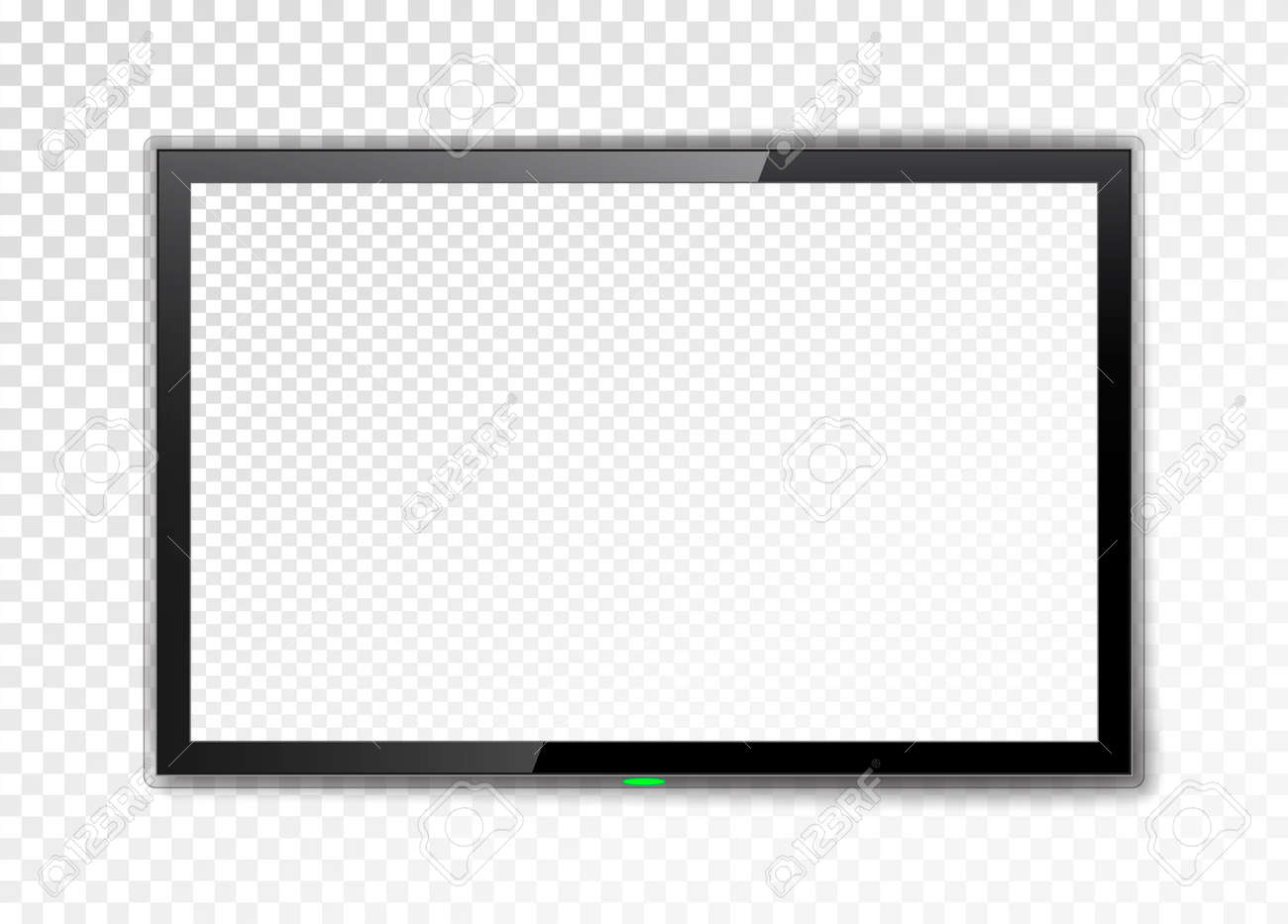 Realistic TV screen. Empty led monitor isolated on a transparent background. Vector illustration. - 93895958