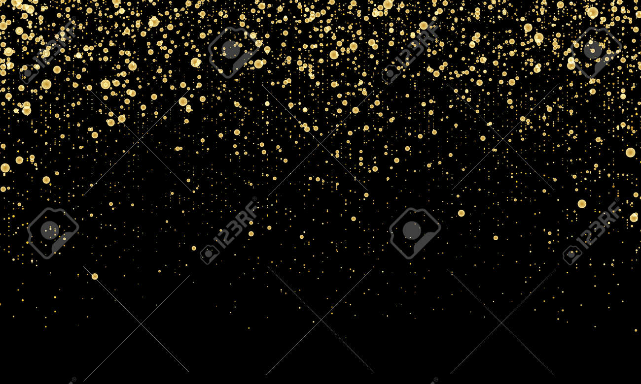 Golden confetti. Gold abstract particles. Sparkle glitter background. Vector illustration. - 138921140