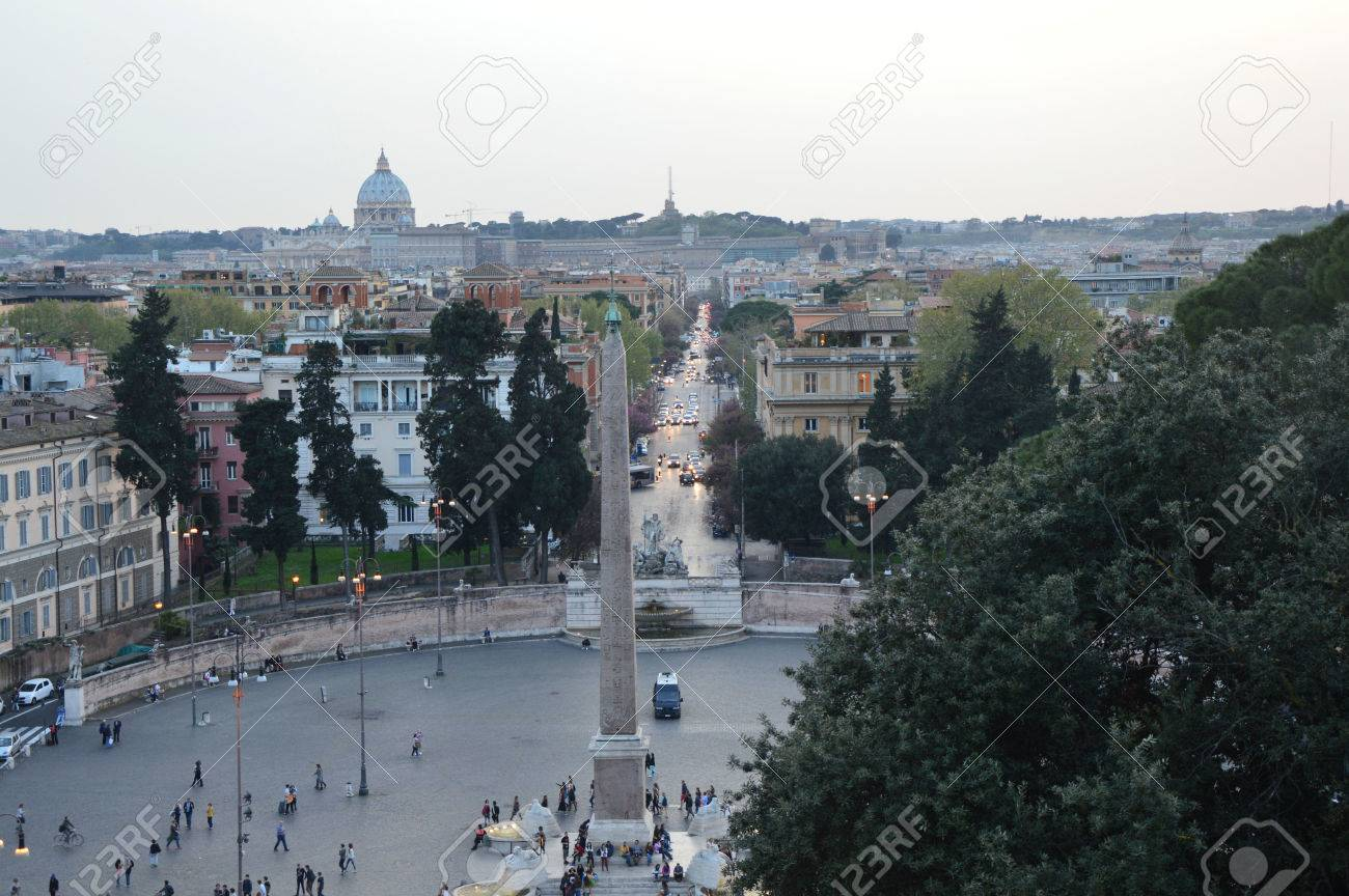 Piazza Del Popolo View From Pincio Terrace With St Peter S Basilica
