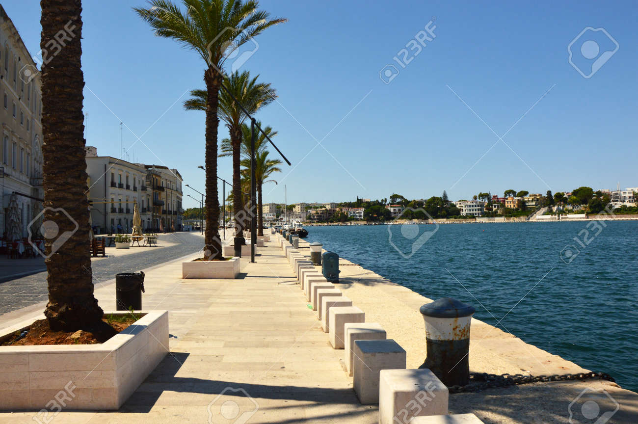 Blue water of seafront of Brindisi port, Apulia, Italy - 84492446