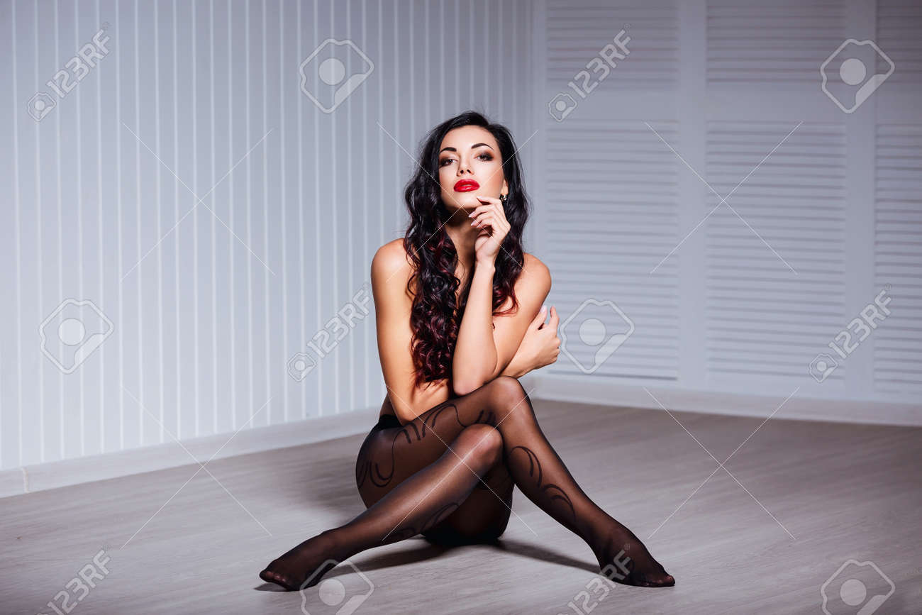 4e94e4c6e Beautiful fashion portrait of young sexy brunette woman with perfect body
