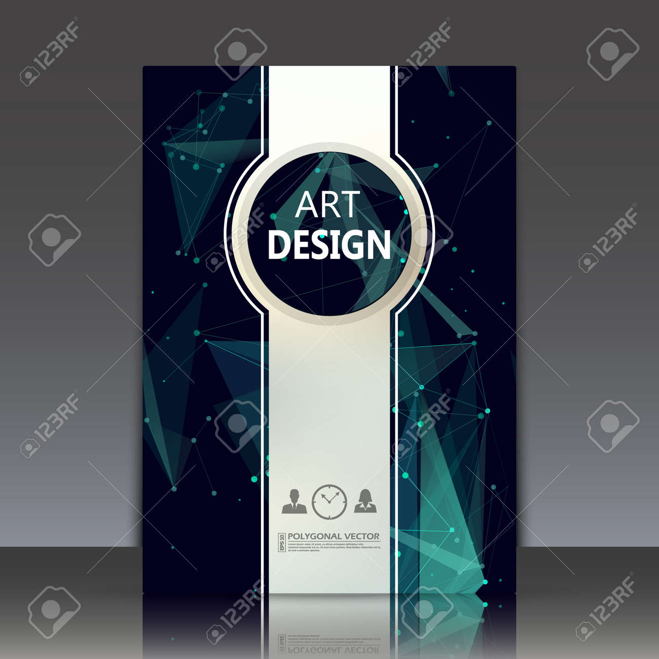 Abstract Composition, Polygonal Texture, A4 Brochure Title Sheet ...
