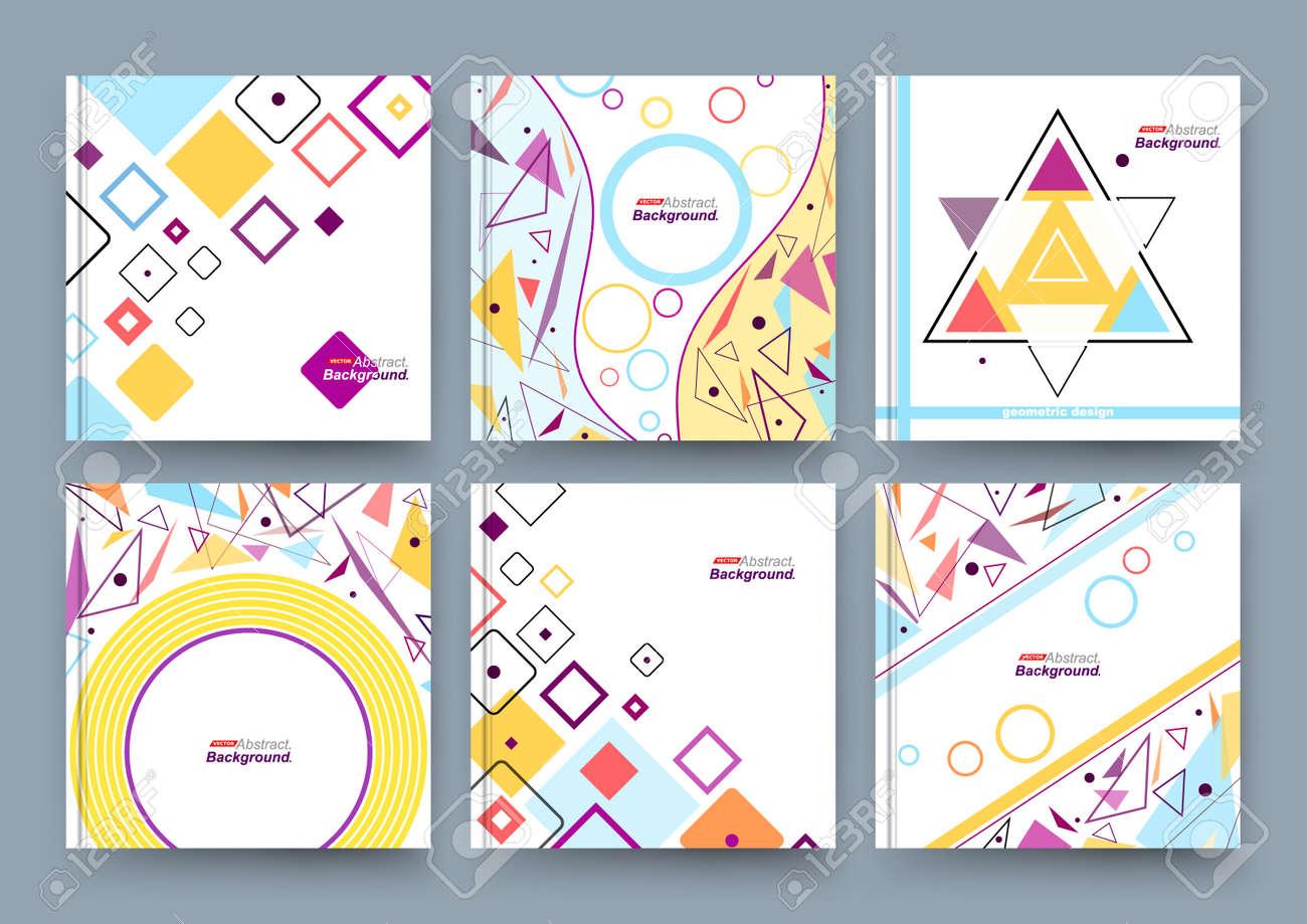 Abstract composition, business card set, info text, elegant geometric shape, triangle, lozenge font texture, brochure title sheet, creative figure icon, flyer fiber, brand trademark, EPS10 banner - 151346723