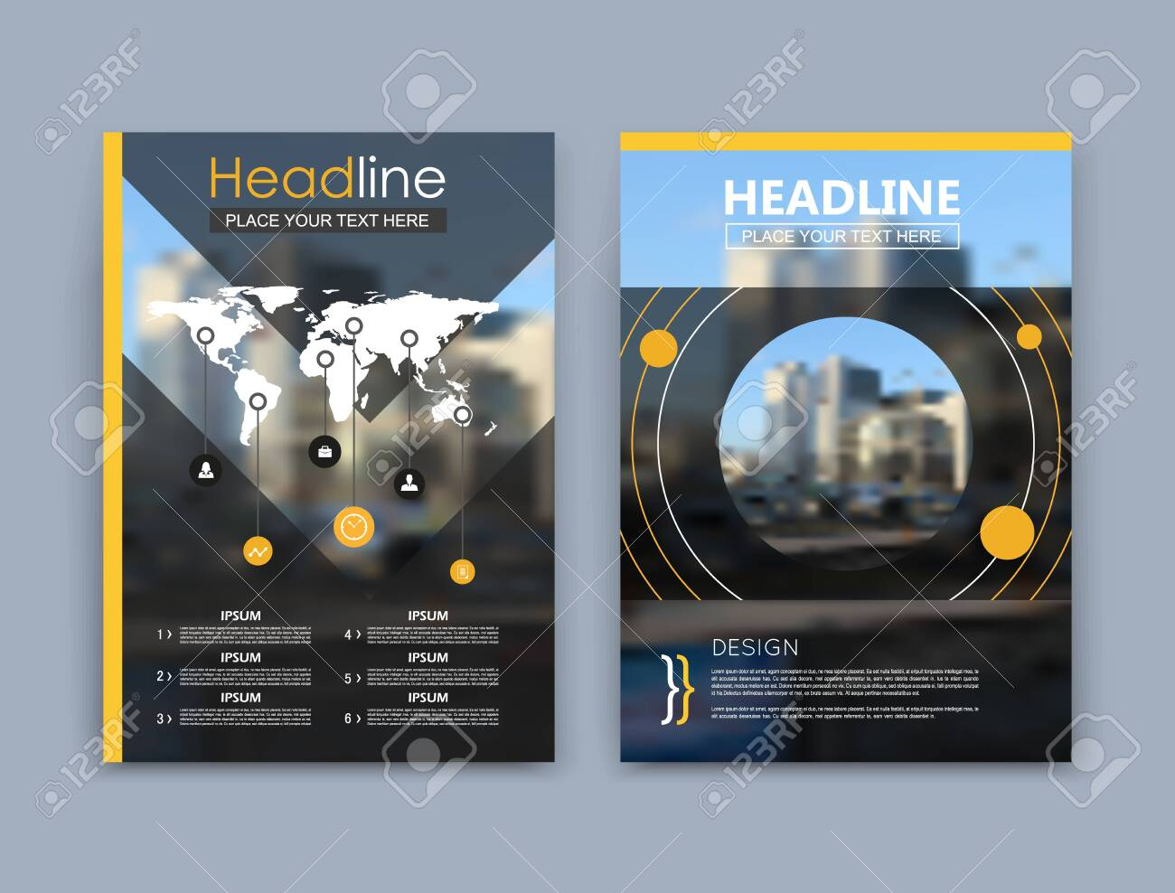 Abstract a4 brochure cover design. Black text frame surface. Urban city view font. Title sheet model set. Modern vector front page. Firm banner texture. Yellow circle figure icon. Round ad flyer fiber - 151363273