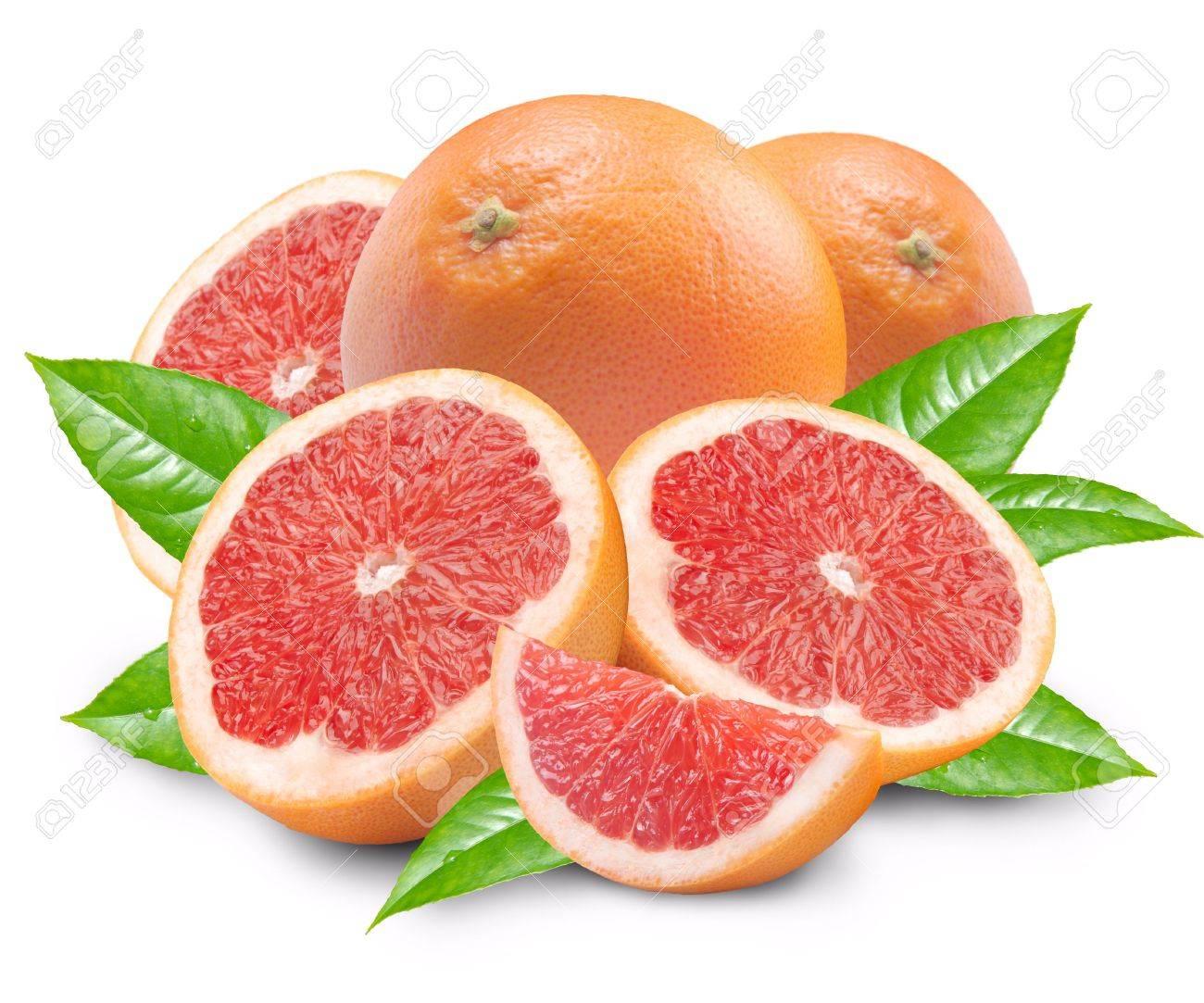 Grapefruit with segments on a white background Stock Photo - 5885871