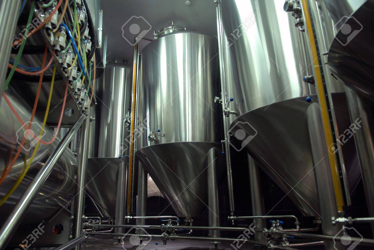 Steel tanks for beer manufacture in brewery Stock Photo - 5988142